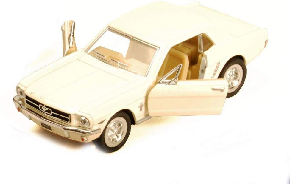 1964 1/2 Ford Mustang Cream Diecast Model Pull Back - Kinsmart KT5351CRM