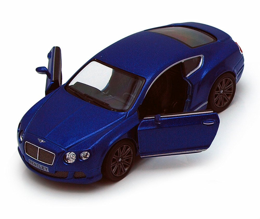 2012 Bentley Continental GT Diecast Model Blue 1:38 Scale Pullback - Kinsmart - KT5369BL
