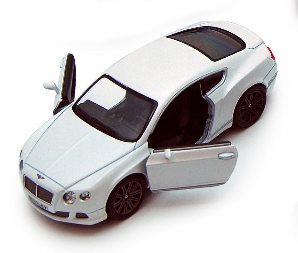 2012 Bentley Continental GT Diecast Model White 1:38 Scale Pullback - Kinsmart - KT5369WH