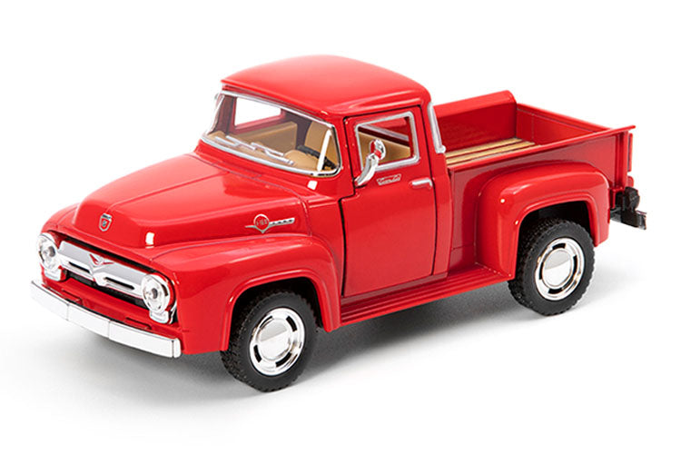 1956 Ford F-100 Pickup Truck, Red 1/38 Scale Diecast Model Toy Pullback - Kinsmart - KT5385RD