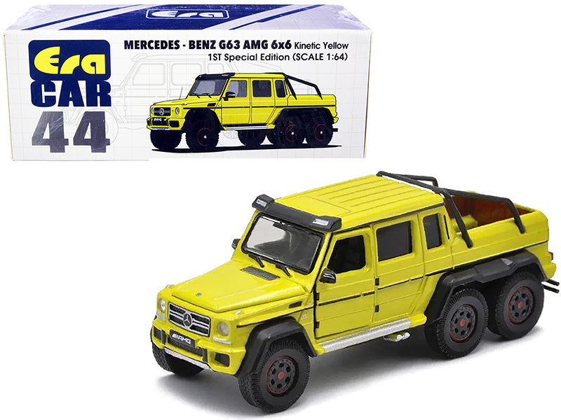 "Mercedes Benz G63 AMG 6x6 Pickup Truck Kinetic Yellow ""1st Special Edition"" 1:64 Diecast Model Car - Era Car MB206X6RF44"