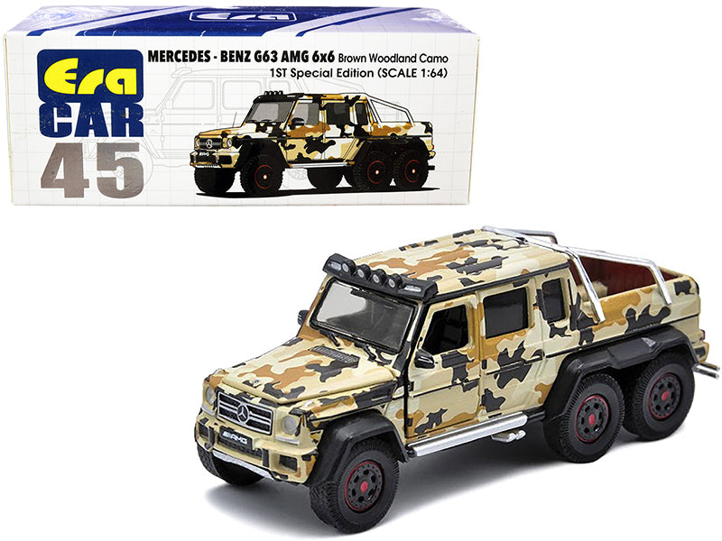 "Mercedes Benz G63 AMG 6x6 Pickup Truck with Spotlight Brown Woodland Camo ""1st Special Edition"" 1:64 Diecast Model Car - Era Car MB206X6RF45"