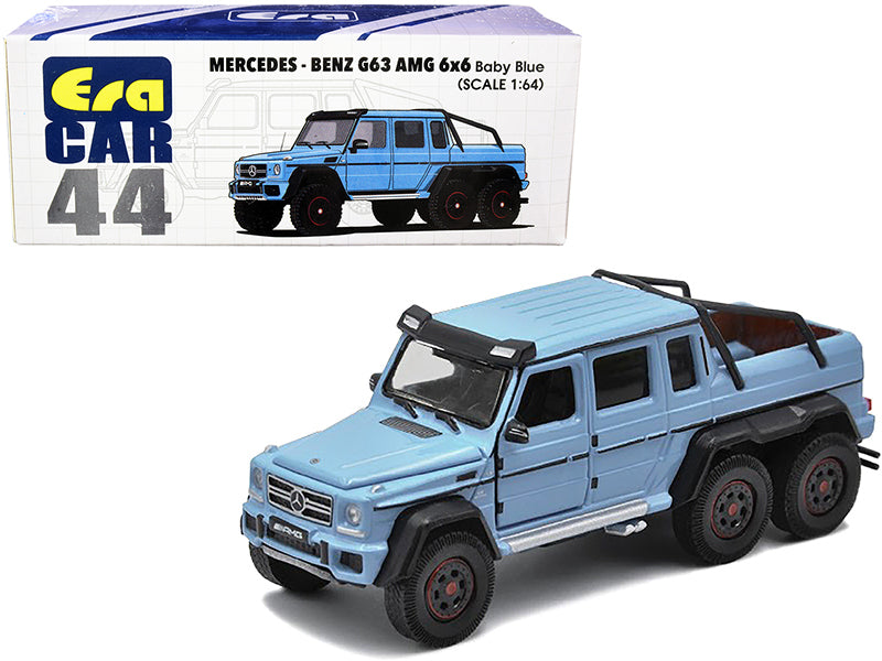 Mercedes Benz G63 AMG 6x6 Pickup Truck Baby Blue 1:64 Diecast Model Car - Era Car MB206X6RN44