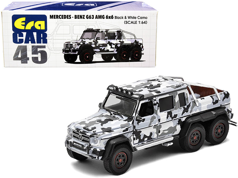Mercedes Benz G63 AMG 6x6 Pickup Truck with Spotlight Black and White Camo 1:64 Diecast Model Car - Era Car MB206X6RN45