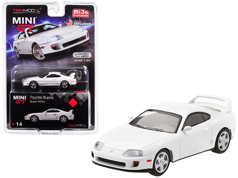 Toyota Supra (JZA80) LHD (Left Hand Drive) Super White Limited Edition to 4,800 pieces Worldwide 1:64 Diecast Model Car - True Scale Miniatures - MGT00014