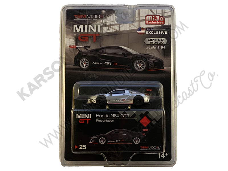 Honda NSX GT3 Presentation Matt Black Limited Edition to 3,600 pieces Worldwide 1:64 Diecast Model Car - True Scale Miniatures - MGT00025 - SILVER CHASE