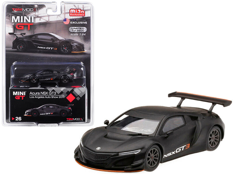 "Acura NSX GT3 Matt Black ""Los Angeles Auto Show 2017"" Limited Edition to 3,600 pieces Worldwide 1:64 Diecast Model Car - True Scale Miniatures - MGT00026"