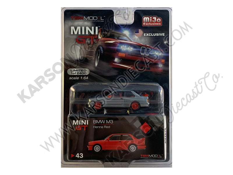 CHASE BMW M3 (E30) Henna Red Limited Edition to 2400 pieces 1:64 Diecast Model Car - True Scale Miniatures - MGT00043
