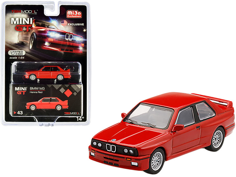 BMW M3 (E30) Henna Red Limited Edition to 2400 pieces 1:64 Diecast Model Car - True Scale Miniatures - MGT00043