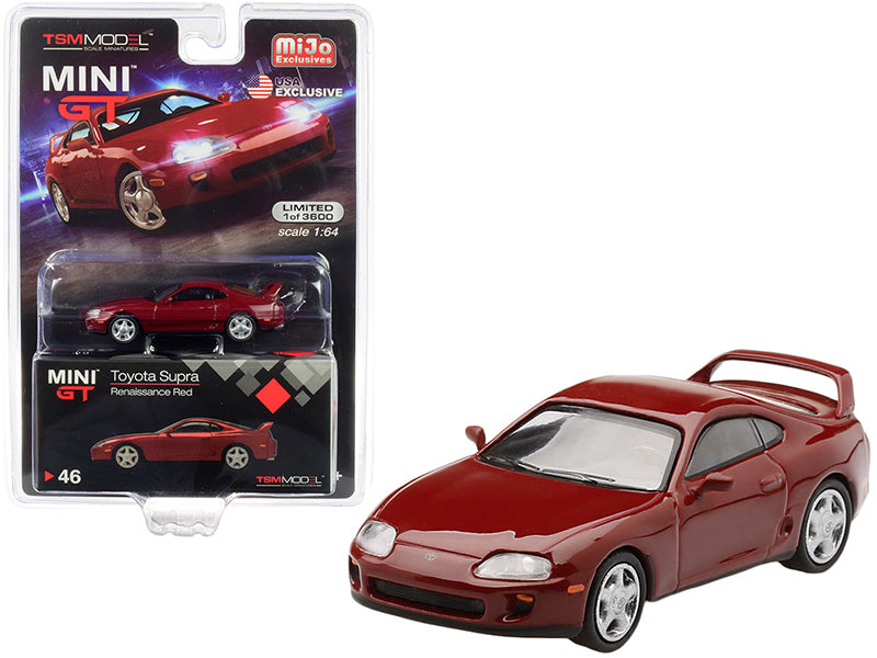 Toyota Supra (JZA80) LHD (Left Hand Drive) Renaissance Red Limited Edition to 3,600 pieces Worldwide 1/64 Diecast Model Car - True Scale Miniatures - MGT00046