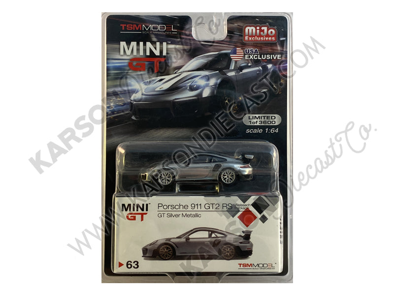 CHASE Porsche 911 GT2 RS Weissach Package GT Silver Metallic with Carbon Stripes Limited Edition to 3,600 pieces Worldwide 1:64 Diecast Model - True Scale Miniatures - MGT00063