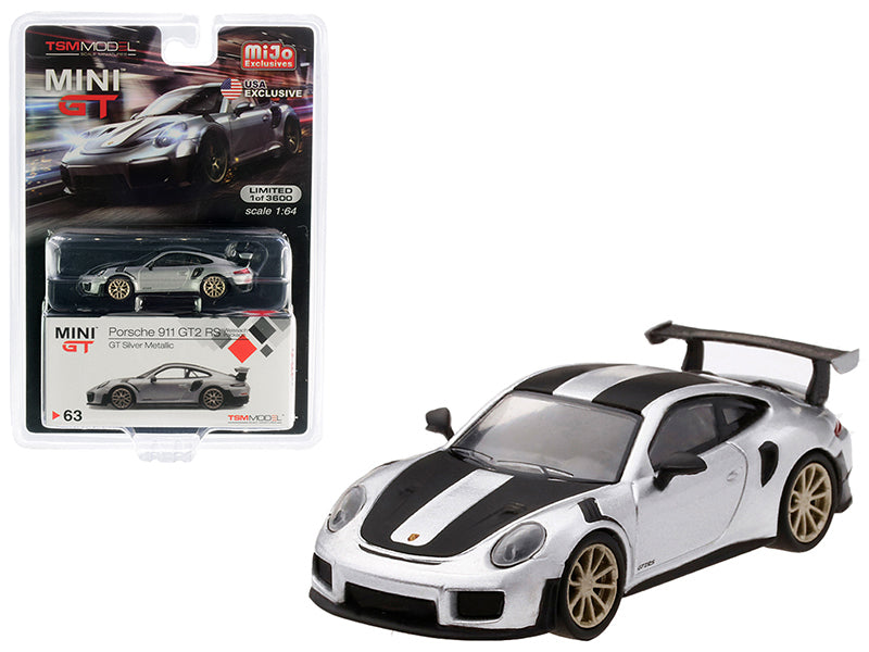 Porsche 911 GT2 RS Weissach Package GT Silver Metallic with Carbon Stripes Limited Edition to 3,600 pieces Worldwide 1:64 Diecast Model - True Scale Miniatures - MGT00063