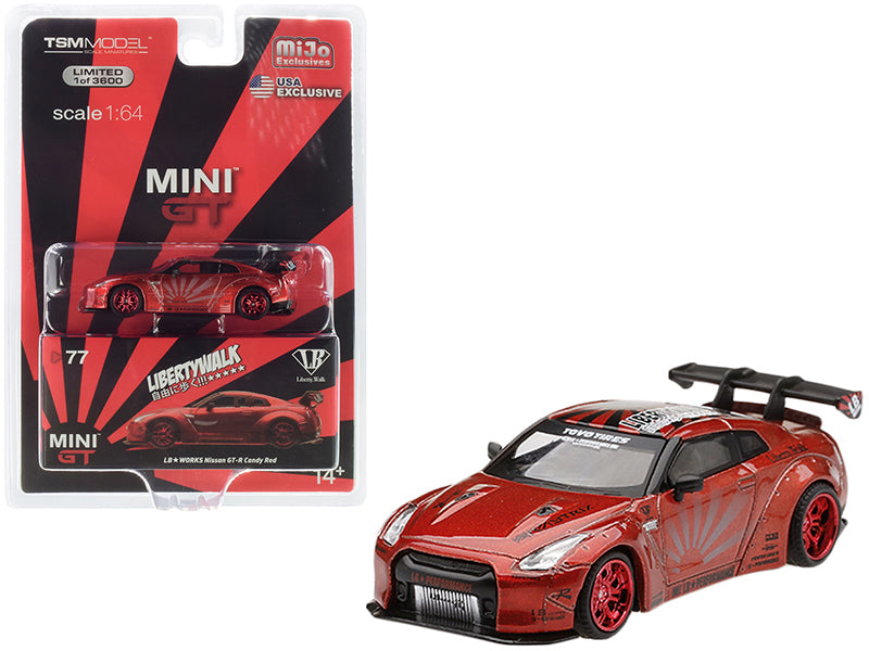 "Nissan GT-R (R35) Type 1 LB Works ""LibertyWalk"" with Rear Wing Candy Red Metallic Limited Edition to 3,600 pieces Worldwide 1/64 Diecast Model Car - True Scale Miniatures - MGT00077"
