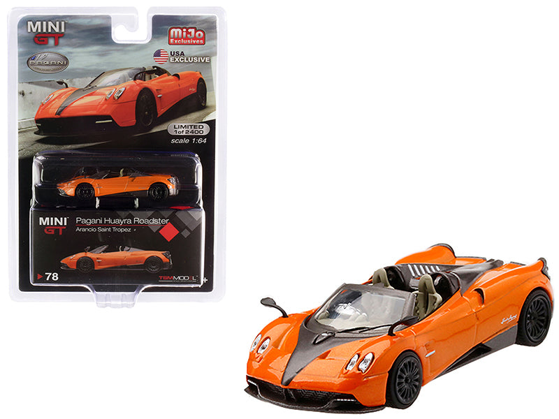 Pagani Huayra Roadster Arancio Saint Tropez / Orange Metallic Limited Edition to 2,400 pieces Worldwide 1:64 Diecast Model Car - True Scale Miniatures - MGT00078