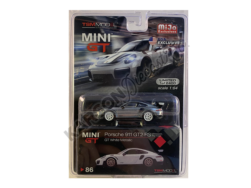 CHASE Porsche 911 GT2 RS Weissach Package GT White Metallic with Carbon Stripes Limited Edition 1:64 Diecast Model Car - True Scale Miniatures MGT00086