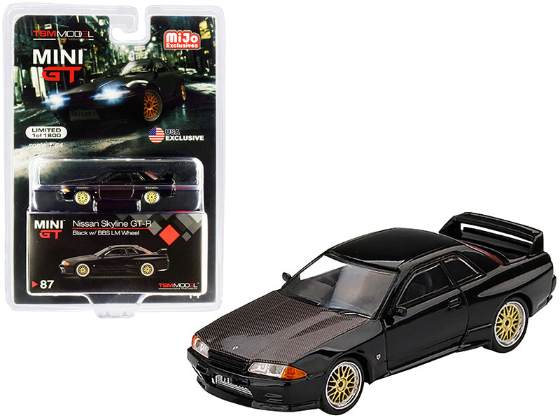 Nissan Skyline GT-R (R32) RHD (Right Hand Drive) Black with BBS LM Wheels and Carbon Hood Limited Edition to 1800 pieces Worldwide 1:64 Diecast Model Car - True Scale Miniatures - MGT00087
