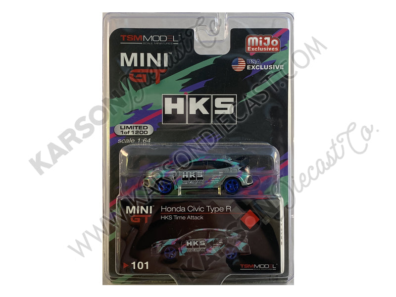 CHASE Honda Civic Type R (FK8) HKS Time Attack (2018) Limited Edition to 1200 pieces 1:64 Diecast Model Car - True Scale Miniatures - MGT00101
