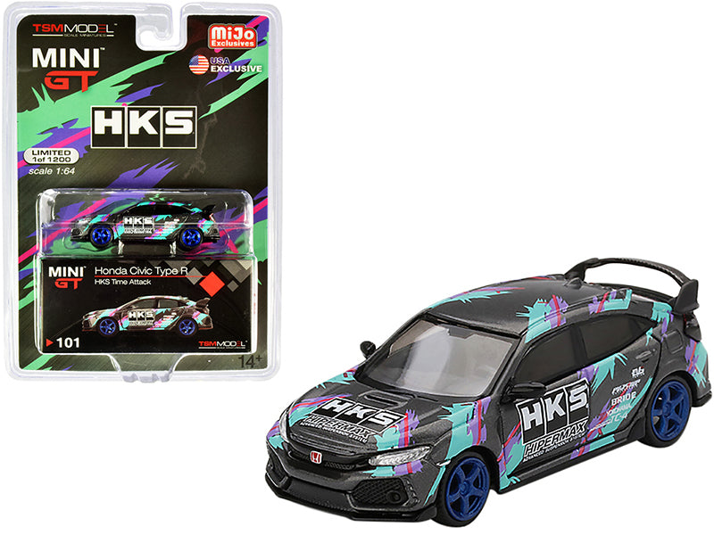 Honda Civic Type R (FK8) HKS Time Attack (2018) Limited Edition to 1200 pieces 1:64 Diecast Model Car - True Scale Miniatures - MGT00101
