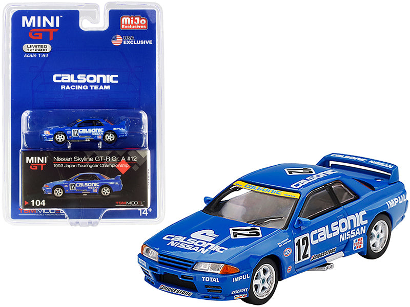 "Nissan Skyline GT-R (R32) Gr. A RHD (Right Hand Drive) #12 ""Calsonic"" Japan Touring Car Championship JTCC (1993) Limited Edition to 2400 pieces Worldwide 1:64 Diecast Model Car - True Scale Miniatures - MGT00104"