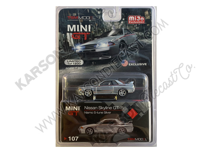 CHASE Nissan Skyline GT-R (R32) Nismo S-Tune RHD (Right Hand Drive) Silver with Red and Black Graphics Limited Edition to 1200 pieces Worldwide 1:64 Diecast Model Car - True Scale Miniatures - MGT00107