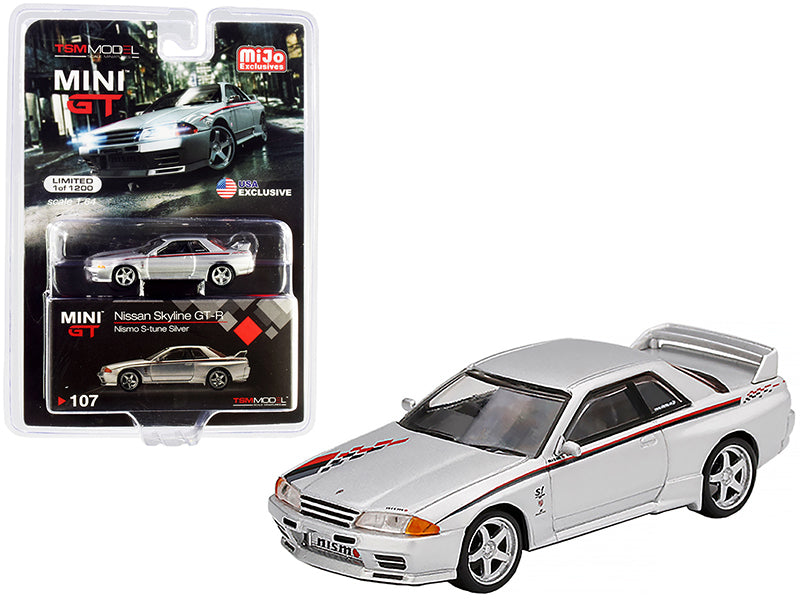 Nissan Skyline GT-R (R32) Nismo S-Tune RHD (Right Hand Drive) Silver with Red and Black Graphics Limited Edition to 1200 pieces Worldwide 1:64 Diecast Model Car - True Scale Miniatures - MGT00107