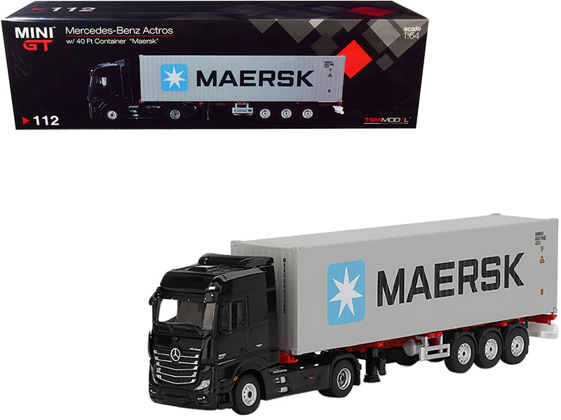 "Mercedes Benz Actros with Trailer and 40' Container ""Maersk"" Black and Gray 1:64 Diecast Model - True Scale Miniatures - MGT00112"