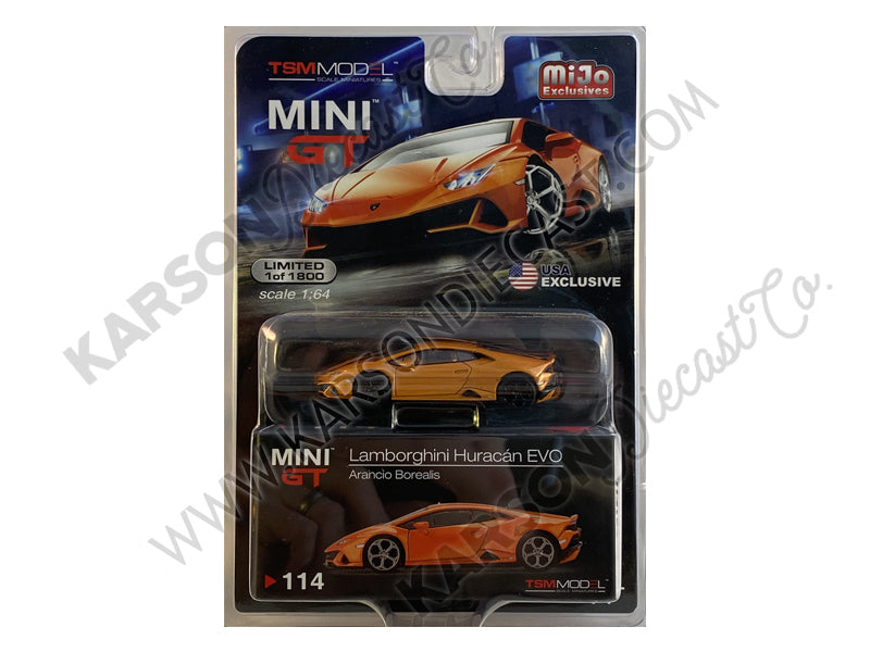 CHASE Lamborghini Huracan EVO Arancio Borealis Orange Metallic Limited Edition Worldwide 1:64 Diecast Model Car - True Scale Miniatures MGT00114