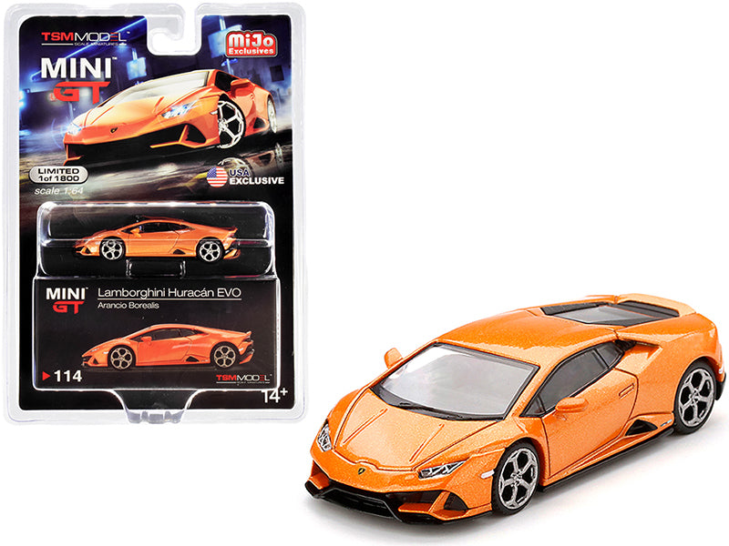 Lamborghini Huracan EVO Arancio Borealis Orange Metallic Limited Edition Worldwide 1:64 Diecast Model Car - True Scale Miniatures MGT00114