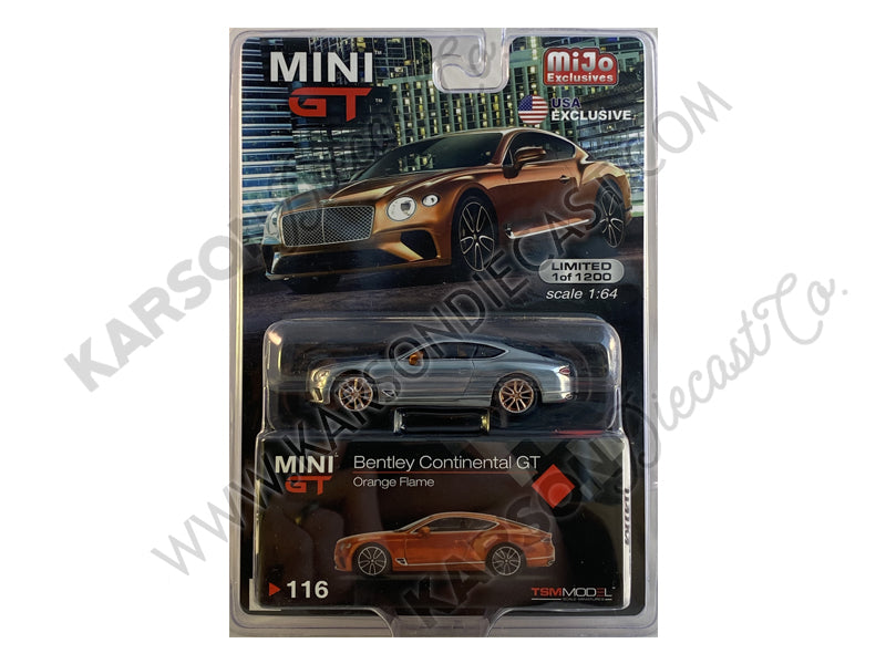 CHASE Bentley Continental GT Orange Flame Metallic Limited Edition to 1200 pieces Worldwide 1:64 Diecast Model Car - True Scale Miniatures - MGT00116