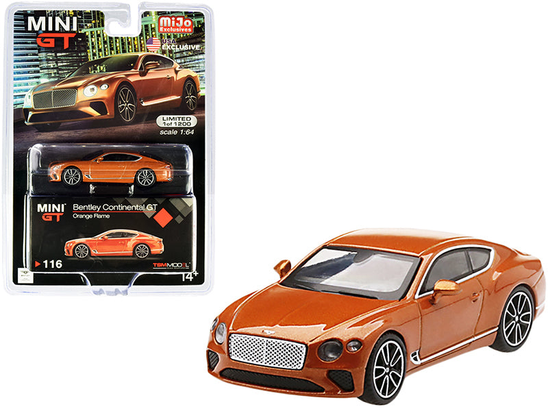 Bentley Continental GT Orange Flame Metallic Limited Edition to 1200 pieces Worldwide 1:64 Diecast Model Car - True Scale Miniatures - MGT00116