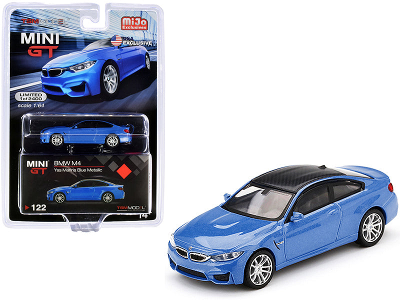 BMW M4 (F82) Yas Marina Blue Metallic with Carbon Top Limited Edition 1:64 Diecast Model Car - True Scale Miniatures - MGT00122