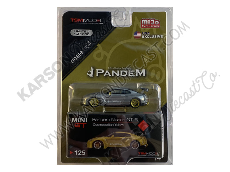 CHASE Nissan GT-R (R35) Pandem with GT Wing Cosmopolitan Yellow Metallic with Gold Wheels Limited Edition to 1800 pieces Worldwide 1:64 Diecast Model Car - True Scale Miniatures - MGT00125
