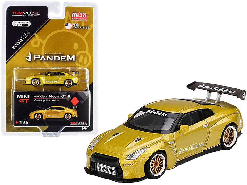 Nissan GT-R (R35) Pandem with GT Wing Cosmopolitan Yellow Metallic with Gold Wheels Limited Edition to 1800 pieces Worldwide 1:64 Diecast Model Car - True Scale Miniatures - MGT00125