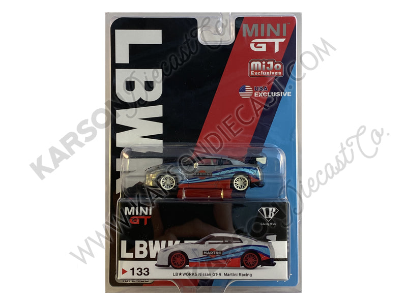 "CHASE Nissan GT-R (R35) Type 1 LB Works with Rear Wing ""Martini Racing"" Limited Edition to 2400 pieces Worldwide 1:64 Diecast Model Car - True Scale Miniatures - MGT00133"