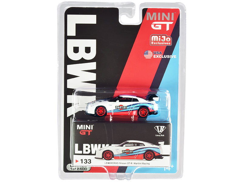"Nissan GT-R (R35) Type 1 LB Works with Rear Wing ""Martini Racing"" Limited Edition to 2400 pieces Worldwide 1:64 Diecast Model Car - True Scale Miniatures - MGT00133"