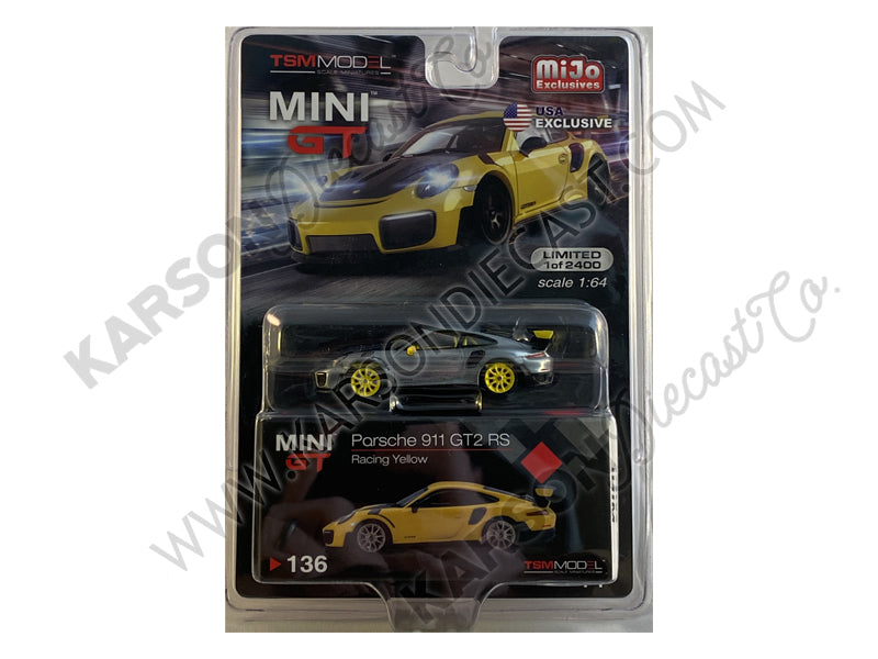 CHASE Porsche 911 GT2 RS Racing Yellow with Gold Wheels Limited Edition to 2400 pieces Worldwide 1:64 Diecast Model Car - True Scale Miniatures - MGT00136