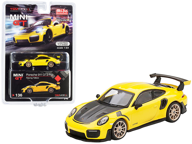 Porsche 911 GT2 RS Racing Yellow with Gold Wheels Limited Edition to 2400 pieces Worldwide 1:64 Diecast Model Car - True Scale Miniatures - MGT00136