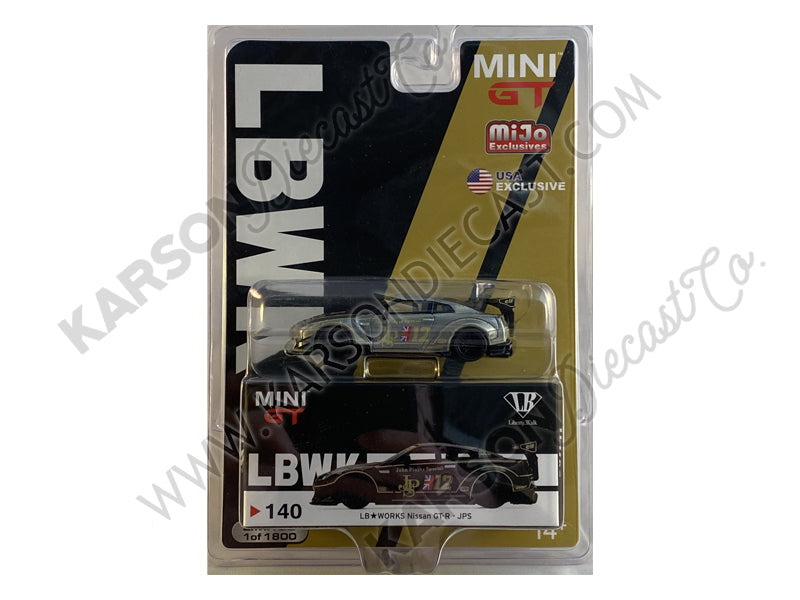 "CHASE Nissan GT-R (R35) Type 2 Rear Wing Version 3 LB Works #12 ""JPS"" Limited Edition to 1800 pieces Worldwide 1:64 Diecast Model Car - True Scale Miniatures - MGT00140"