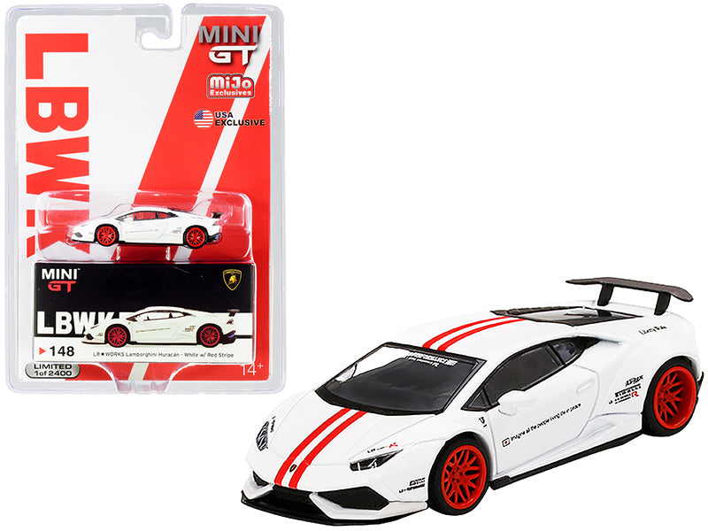 Lamborghini Huracan Version 1 LB Works White with Red Stripes Limited Edition to 2400 pieces Worldwide 1:64 Diecast Model Car - True Scale Miniatures - MGT00148