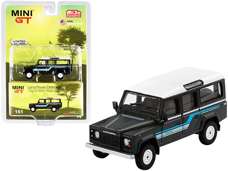 1985 Land Rover Defender 110 County Station Wagon Gray w/ White Top Limited to 1800 pcs Worldwide 1:64 Diecast Model - True Scale Miniatures MGT00151