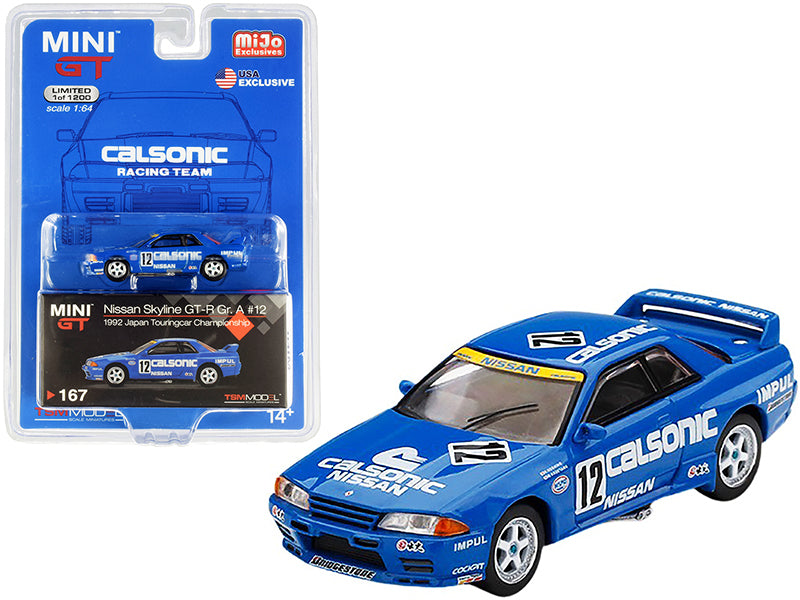 "Nissan Skyline GT-R RHD (Right Hand Drive) #12 ""Calsonic"" Japan Touring Car Championship JTCC (1992) Limited Edition to 1200 pieces Worldwide 1:64 Diecast Model Car - True Scale Miniatures - MGT00167"