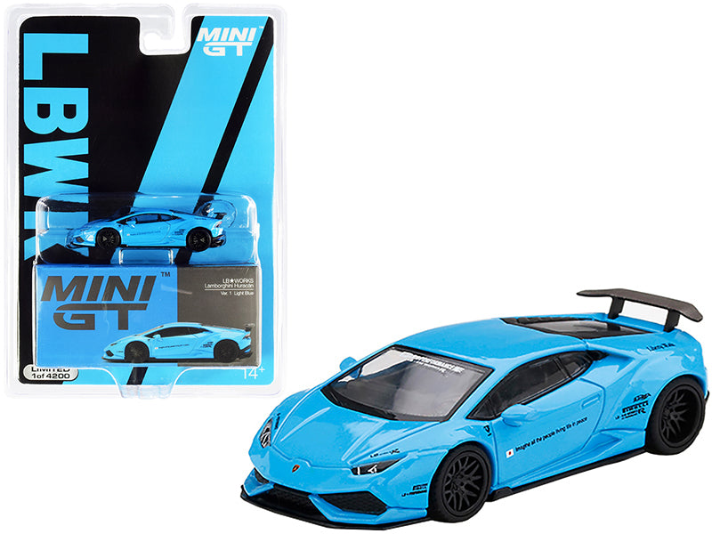 Lamborghini Huracan Ver. 1 LB Works Light Blue Limited Edition to 4200 pieces Worldwide 1:64 Diecast Model Car - True Scale Miniatures MGT00189