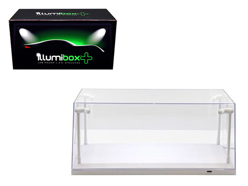Collectible Display Show Case w/ LED Lights & White Base for 1:24 & 1:18 Models - Illumibox - MJ14005