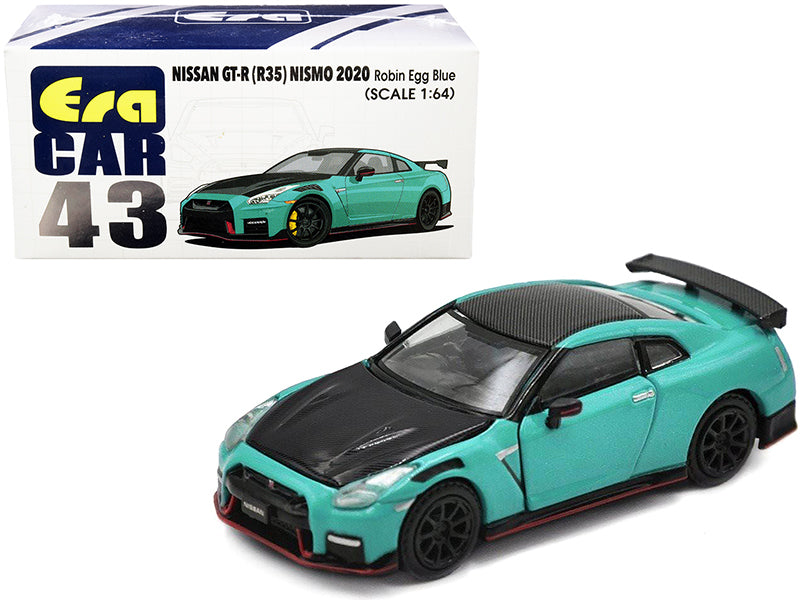 2020 Nissan GT-R (R35) Nismo RHD (Right Hand Drive) Robin Egg Blue and Carbon Black 1:64 Diecast Model Car - Era Car NS20GTRRN43