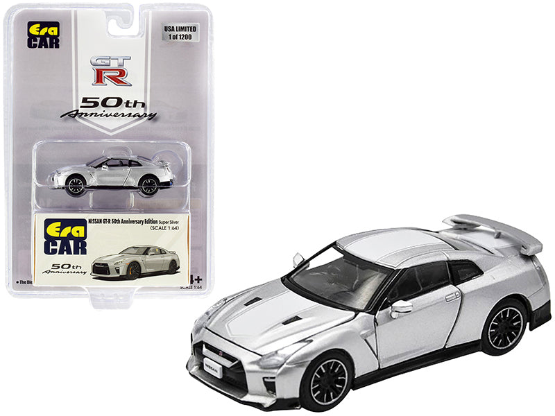 "Nissan GT-R RHD (Right Hand Drive) Super Silver with White Stripe ""50th Anniversary Edition"" Limited Edition to 1200 pieces 1:64 Diecast Model Car - Era Car - NS20GTRSP25B"