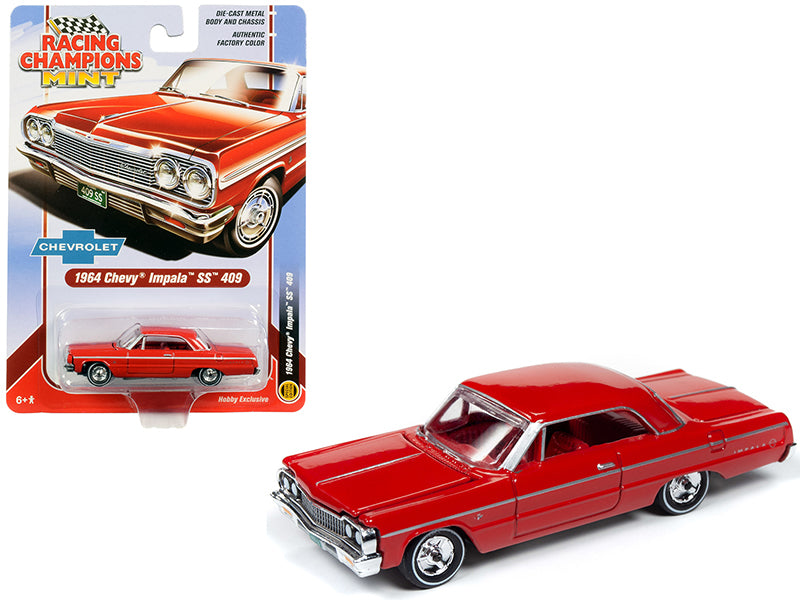 1964 Chevrolet Impala SS 409 Hardtop Riverside Red w/ Red Interior 1:64 Diecast Model - Racing Champions RCSP012