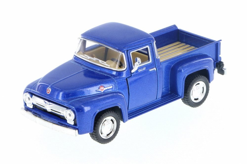 1956 Ford F-100 Pickup Truck, Blue 1/38 Scale Diecast Model Toy Pullback - Kinsmart - KT5385BL