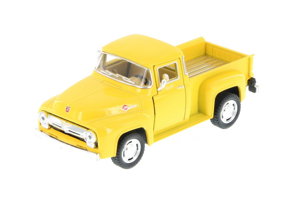1956 Ford F-100 Pickup Truck, Yellow 1/38 Scale Diecast Model Toy Pullback - Kinsmart - KT5385YLW