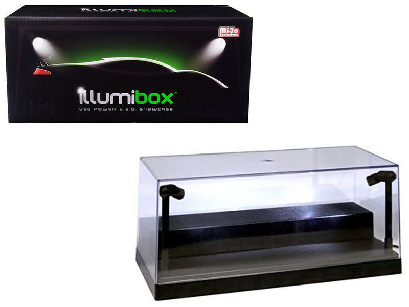USB Powered Plastic Collectible Display Show Case Black 1/24 Scale w/ Riser Option to Display 1:64 Scale Diecast Models with L.E.D. Lights - Illumibox - MJ10001