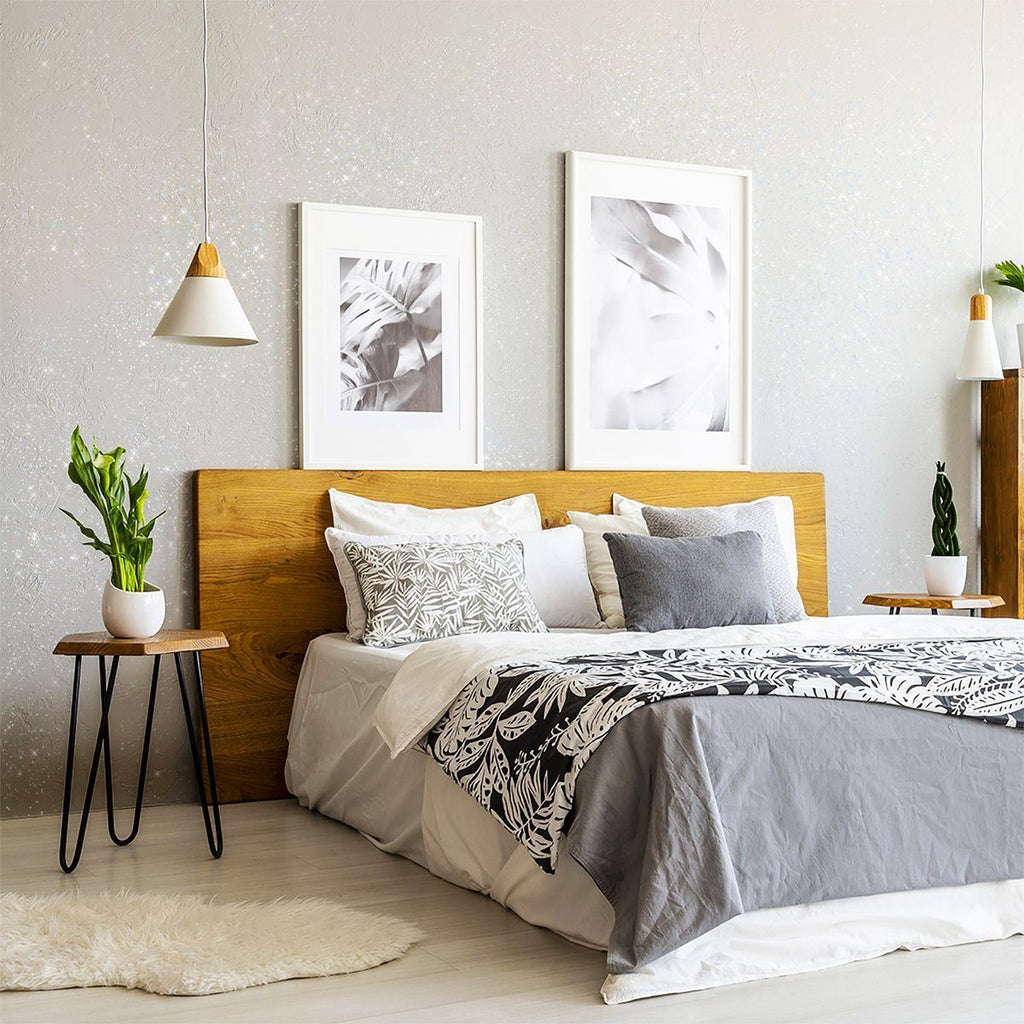 Bedroom Interior design with chalk paint glitter wall in neutrals with houseplants